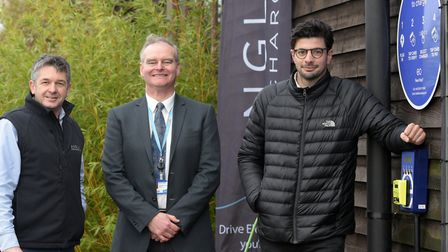 Richard Seppings, Peter Frost and Charlie Jardine at the new contactless charging point Picture: SA