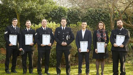 Suffolk Constabulary's PC Joanne Smith and the five Essex Police officers receiving commendations fr