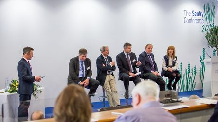 A Brexit panel, from left, chair Tim Pigott, David Sheppard, Peter Thompson, Andrew Wraith, Chris Cl