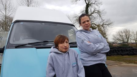The Worry Tree Cafe founders, Katrina Clarke-Abbott and Millie Corke, and the van that was donated t