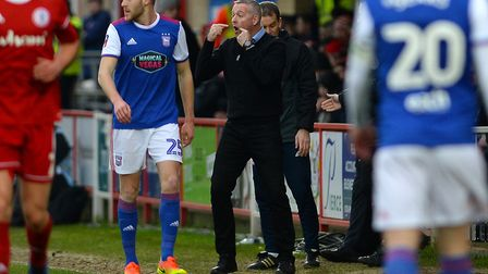 Paul Lambert talks to his players during the first half of the FA Cup third round tie at Accrington