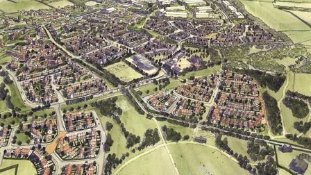 An artists' impression of the Chilton Woods development in Sudbury