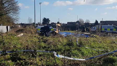 Police at the scene of the fire in Leiston which claimed the life of Leon Clark, 20 Picture: ARCHANT