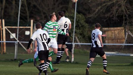 Jimmy Mayhew gives Framlingham the lead in their 3-1 win over Long Melford. Picture: DEAN WARNER