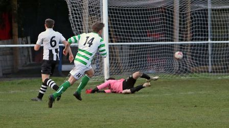 Max Willett makes it 3-0 to Framlingham at Long Melford. Picture: DEAN WARNER