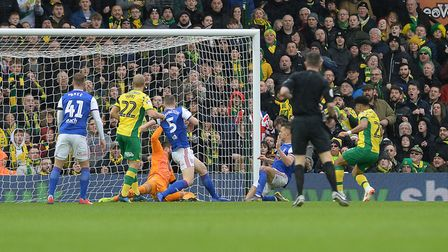 Onel Hernandez scores Norwich's first goal Picture Pagepix