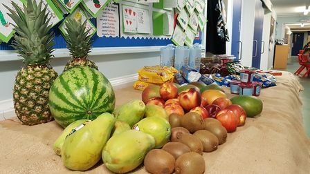 Witnesham Primary School had a spread of delicious fruit and vegetables out for their students Pict