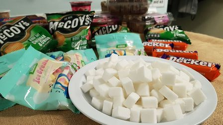 The children also found out how much sugar was in some more unhealthy snacks Picture: RACHEL EDGE