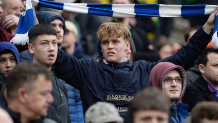 A Town fan shows his colours at Carrow Road. Picture: PAGEPIX LTD