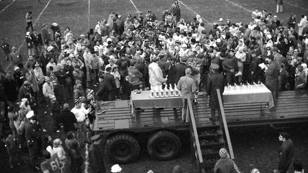 American Football match at RAF Woodbridge in 1976 Picture: ARCHANT
