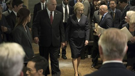 Undated film still handout from Vice. Pictured: Christian Bale as Dick Cheney and Amy Adams as Lynne