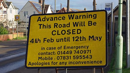 A road closure sign letting people know that Wetherden Road in Elmswell will be closed from February