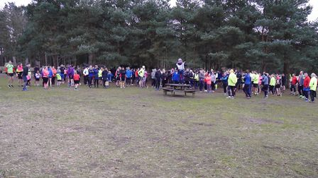 Runners, joggers and walkers assemble before the start of last Saturday's Rushmere parkrun,staged ne