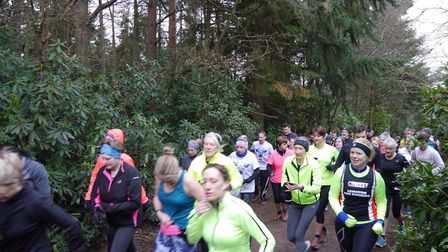 Runners set off at the start of last Saturday's Rushmere parkrun, in Bedfordshire. There were 227 in