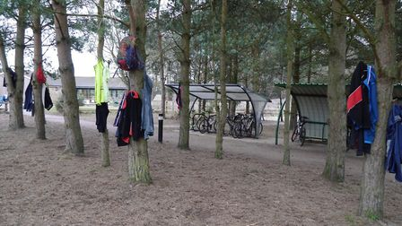 The various personal belongings left by runners, before they tackled last Saturday's Rushmere parkru