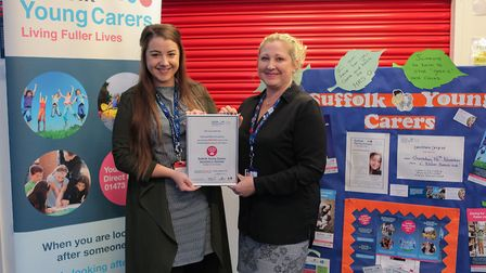 Left to right: Sheree Driver, Suffolk Young Carers, and Sam Ockleford, Samuel Ward Academy Picture: