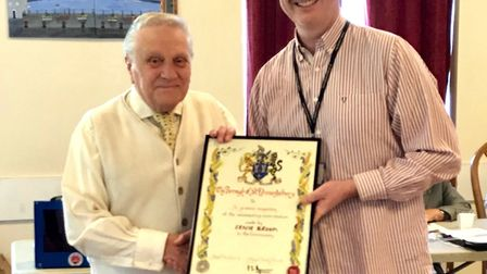 Ernie Broom (left) with Paul Hopfensperger after the councillor presented him with an award Picture: