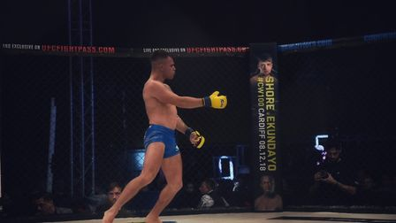 Chey Veal celebrates his win at Cage Warriors 99 in Colchester. Picture: BRETT KING