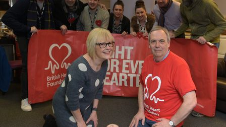 Lesley Dolphin and Nigel Donkin (British Heart Foundation) launching the new CPR Campaign Pictur