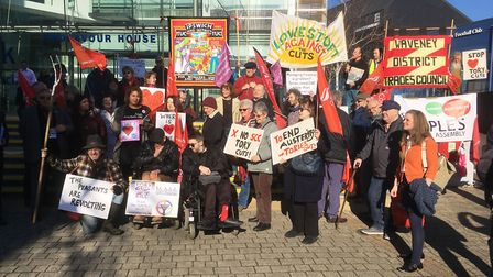 Protestors outside Endeavour House before the Suffolk County Council budget meeting. Picture: PAUL G