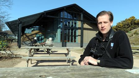 RSPB marketing and publicity officer, Ian Barthorpe outside the visitor centre at RSPB Minsmere Pic