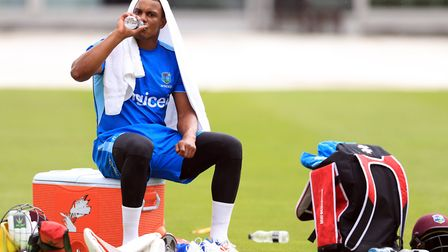 West Indies' Shannon Gabriel, given a curt response from Joe Root