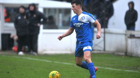 Ryan Jolland, who scored a brace in Bury Town's 4-2 win over Basildon United last weekend. Picture: