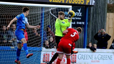 Bury Town defender Kyran Clements, who has scored three goals in Bury Town's last two fixtures. The