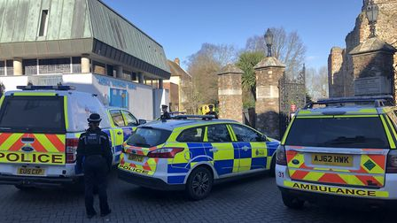 Essex Police vehicles gathered in number at the Castle Park entrance at the top of Ryegate Road, clo