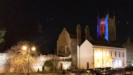 St Edmundsbury Cathedral was illuminated on Wednesday Picture: HELP FOR HEROES