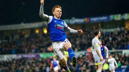 Nolan celebrates his goal in front of the North Stand. Picture: STEVE WALLER