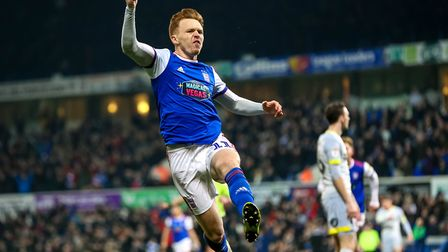 Jon Nolan jumps for joy after scoring Ipswich Town's equaliser against Derby County in midweek. Phot