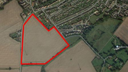 The land in Poplar Hill Stowmarket eyed for development by Gladman. Picture: GOOGLE MAPS