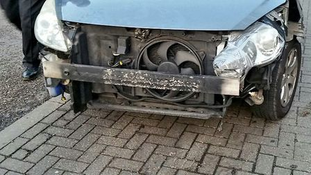 The car without the front bumper was stopped in Colchester. Picture: ESSEX POLICE
