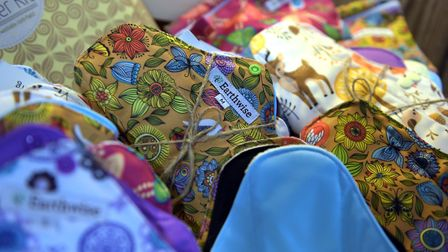 Reusable sanitary towels come in a range of colours and patterns. Picture: SARAH LUCY BROWN