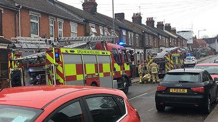 Two fire engines were called to a kitchen fire in Ipswich. Picture: RACHEL EDGE