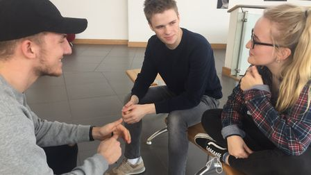 Suffolk One students Sam, Ross and Grace discuss climate change Pictures by John Nice