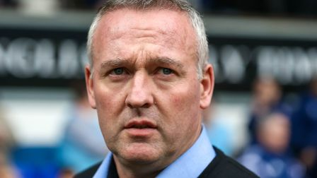 Town manager Paul Lambert looks on during the Ipswich Town v Stoke City match. Picture: STEVE WAL