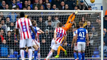Bartosz Bialkowski makes a save early on. Picture: STEVE WALLER WWW.STEPHENWALLER.COM