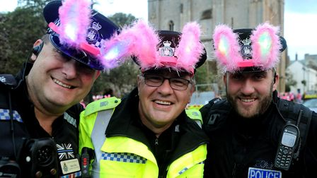 Police supporters Mark Ellis, Paul Fox and Adam Burroughs at the Girls Night Out walk 2018 Picture