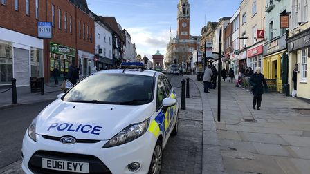There was a police presence in the High Street in Colchester for the whole morning on February 12 Pi