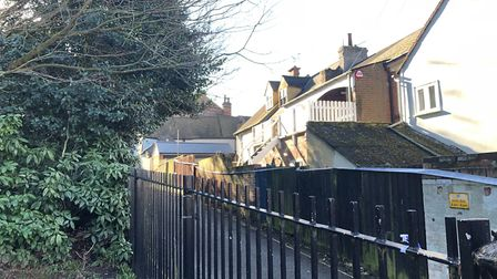 Ryegate Road is a narrow street directly next to Castle Park, Colchester. Essex Police erected a wid
