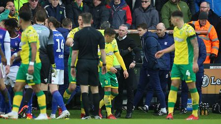 Ipswich Town manager Paul Lambert (centre right) was shown a red card following this melee on the to