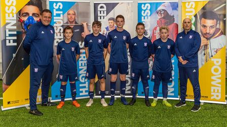 Nigel Ling, left, and Nino Severino, right, with a group of the young goalkeepers in his charge Phot