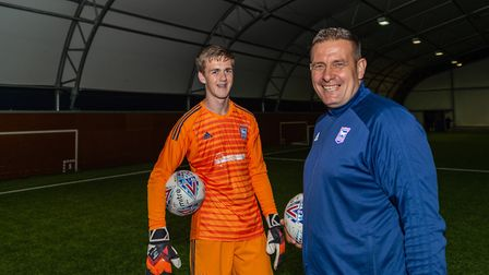 Nigel Ling, right, with an ITFC Academy goalkeeper Photo: PAVEL KRICKA