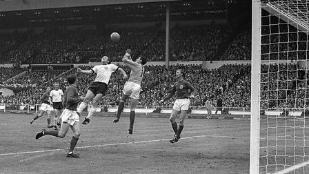 Gordon Banks reaches a high cross during the World Cup Final at Wembley in 1966. Photo: PA