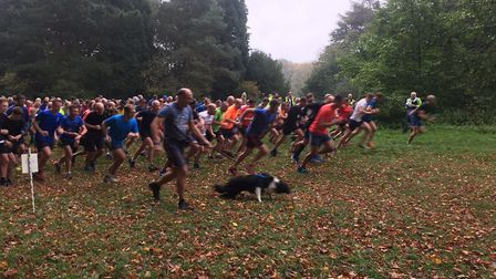 Runners, walkers and dogs set off at the start of the weekly Bury St Edmunds parkrun, which is held