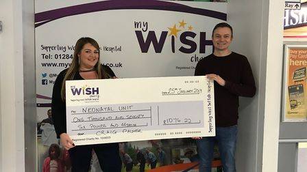 Craig and Sammie Palmer hand over a cheque to the My WiSH Charity Picture: MY WISH