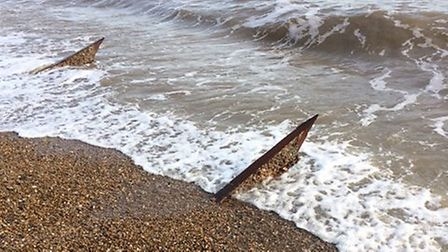 The metal objects could be dragons teeth which have been spotted Picture: NORMAN FINCH