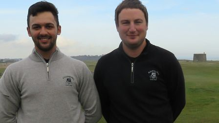 HOME WIN: Adam Sheldrake (left) and Andrew Robinson won the February Winter Four Ball at Felixstowe